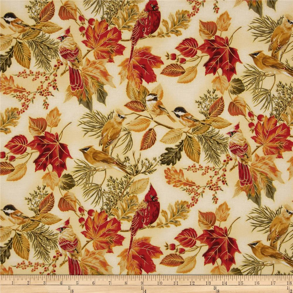 Autumn Serenade Metallic Birds Cream