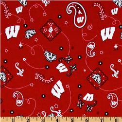 Collegiate Cotton Broadcloth University of Wisconsin Bandana Red