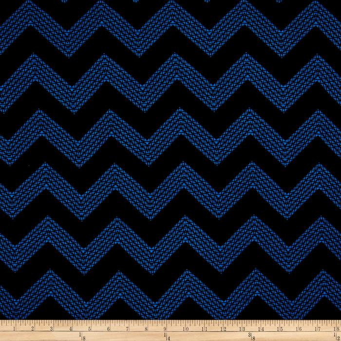 Jersey Knit Zig Zag Blue Fabric By The Yard
