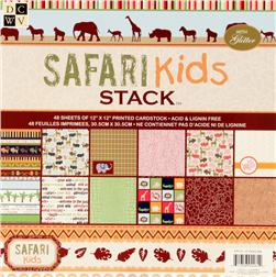 DCWV Safari Kids Printed Cardstock Stack 12''x12''