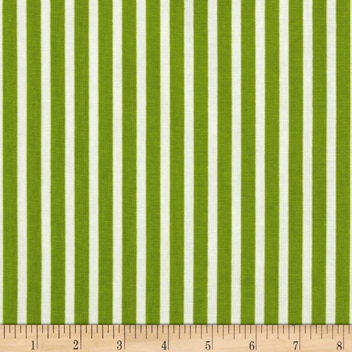 Premier Prints Carrie Stripe White/Chartreuse