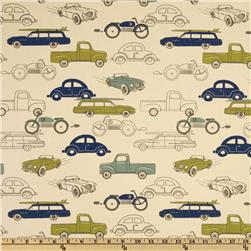 Premier Prints Retro Rides Felix Blue/Natural Fabric