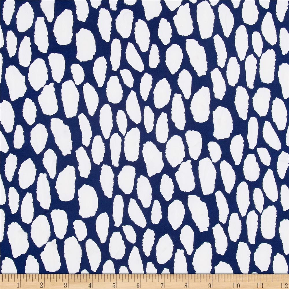 ITY Stretch Knit Abstract White/Blue Fabric