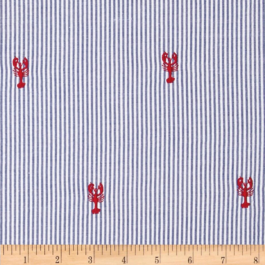 Embroidered Seersucker Navy/White Lobsters Red