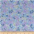 Stretch Poplin Floral Lilac/Blue/Yellow
