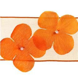 "1 1/2"" Wired Dimensional Flower Organza Ribbon Orange"