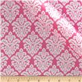 Charmeuse Satin Classic Damask Fuchsia/Snow