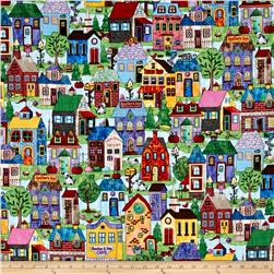 Timeless Treasures Home Sweet Home Neighborhood Scenic Full Color Multi