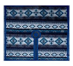 Italian Designer Tribal Print Wool Ruana Poncho Panel Blue