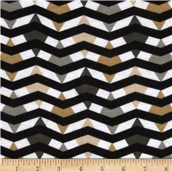 Fashionista Jersey Knits Geometric Chevron Grey/Tan