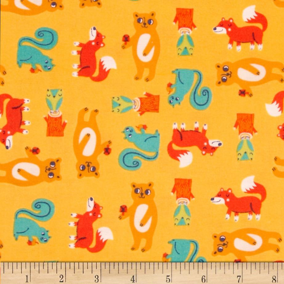 Happy Camper Flannel Critters Orange