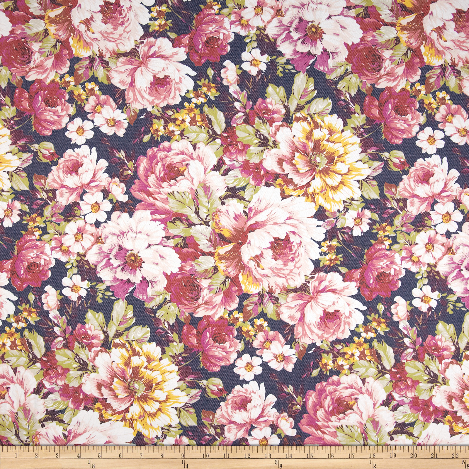 Soho Stretch Twill Floral Multi Fabric
