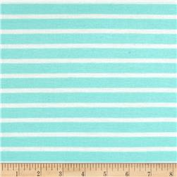 Stretch Rayon Jersey Knit Small Stripe Aqua/White