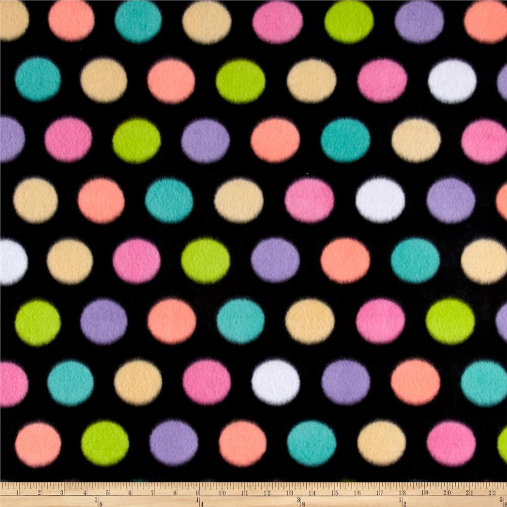 Polar Fleece Print Fun Dot Black Fabric By The Yard