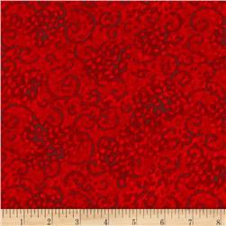 "Leafy Scroll 108"" Wide Back Red"