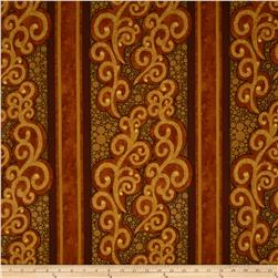 Lonni Rossi Large Scroll & Stripes Orange Fabric