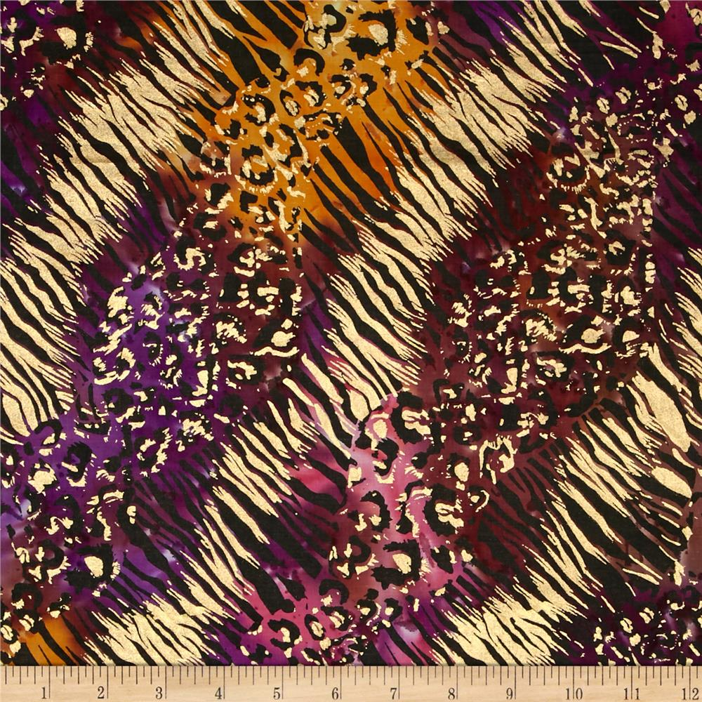 Indian Batik Urban Ethnic Animal Skin Metallic Purple/Pink