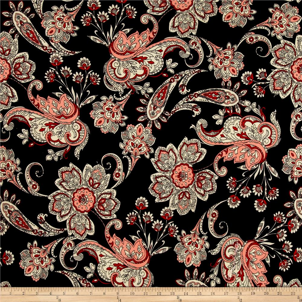 ITY Brushed Jersey Knit Paisley Black/Cream/Red Fabric