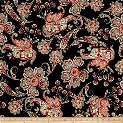 ITY Brushed Jersey Knit Paisley Black/Cream/Red