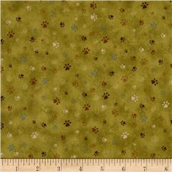 Kitty Kat Kapers Paw Print Green