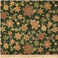 Robert Kaufman Holiday Flourish Metallic Snowflakes Evergreen