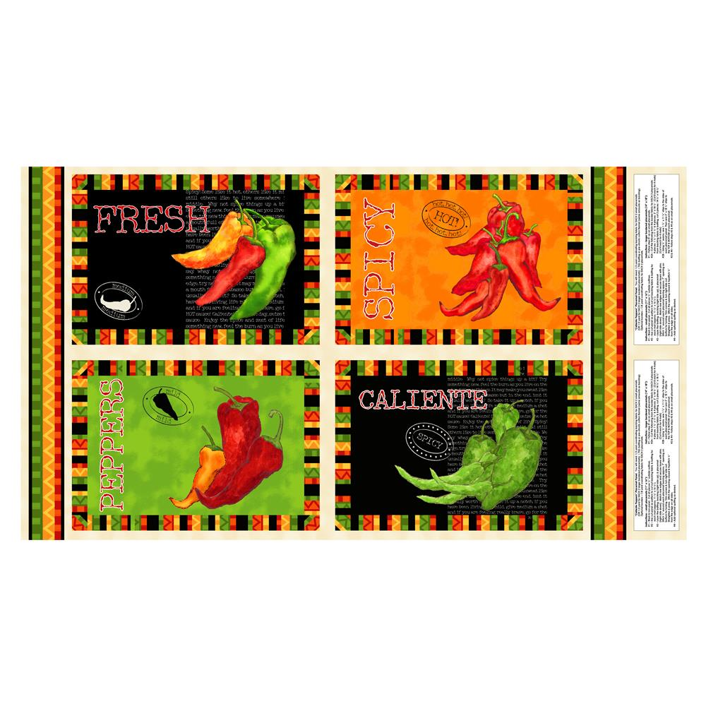 Caliente Peppers 25'' Placemat Panel Fabric