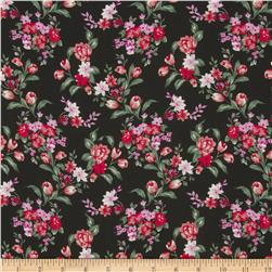 Serenade Rayon Challis Centerpiece Floral Red/Black