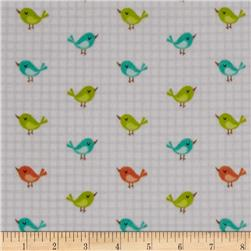 Jungle Jubilee Flannel Birds Gray
