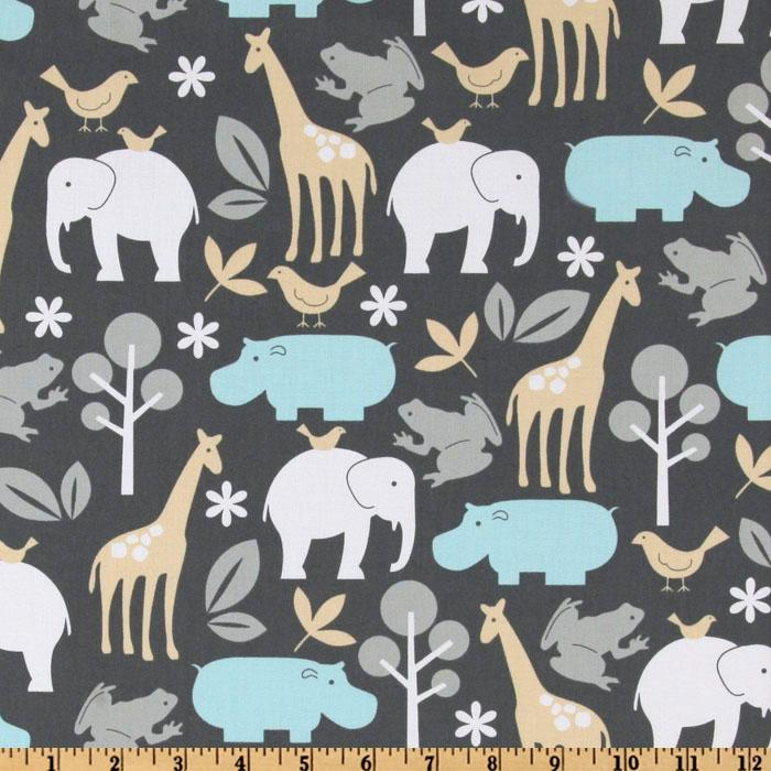 Michael miller baby zoology sea discount designer fabric for Grey childrens fabric