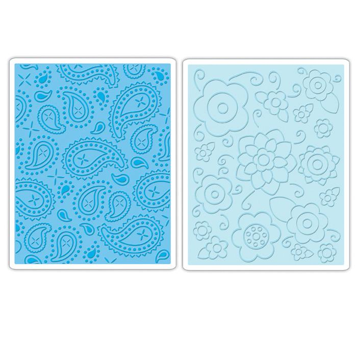 Sizzix Textured Impressions Embossing Folder 2 Pack-Spring Flowers and Paisley Set