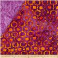 Indian Batik Double Sided Quilted Vertical Tribal Print Purple/Orange
