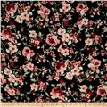 Bubble Crepe Floral Black/Rose Quartz