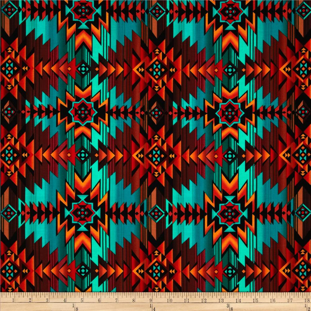 Timeless Treasures Southwest Blanket Turquoise
