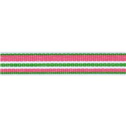 "1/2"" Twill Tape Stripes Pink/Green/White"