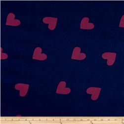Double Brushed Jersey Knit Hearts Navy/Purple