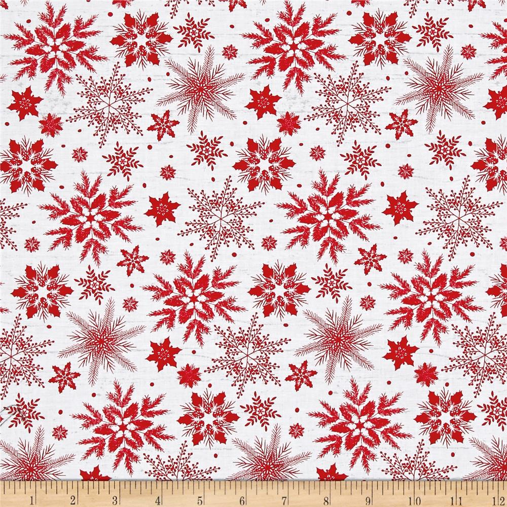 Holiday Homecoming Snowflake White/Red Fabric