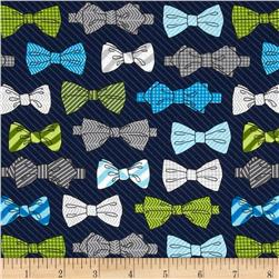 Fox and The Houndstooth Bowties Navy Fabric