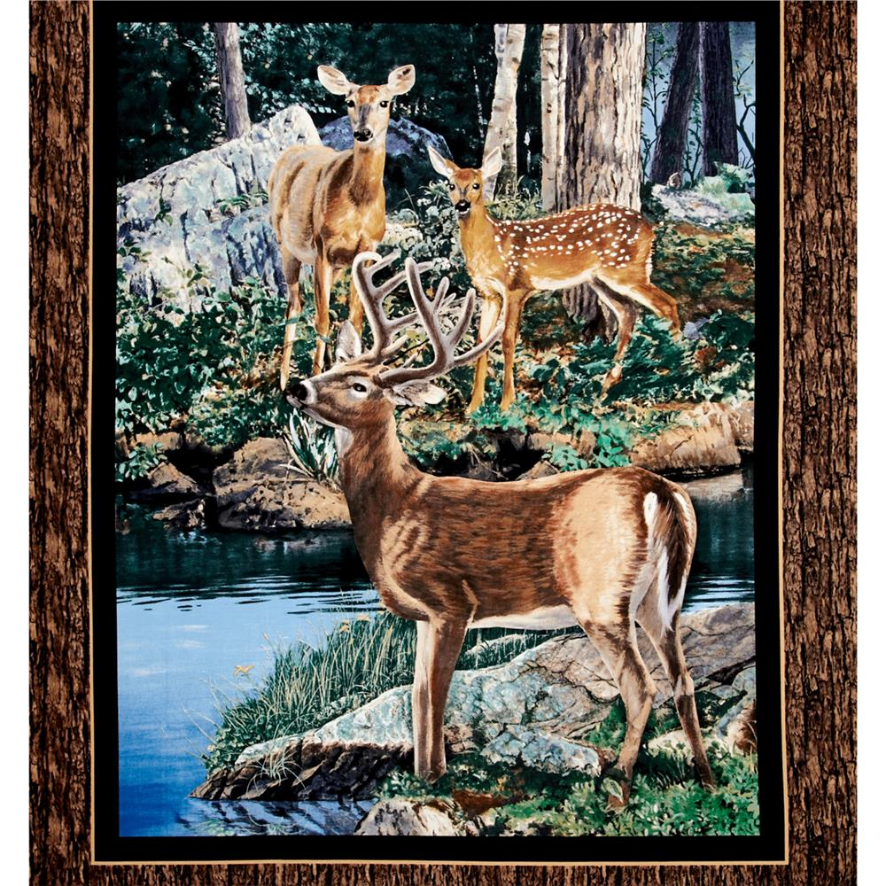 Cradle Rock Deer Wall 36 In. Panel Multi Fabric By The Yard