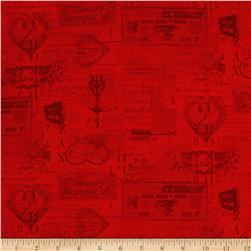 Vintage Valentine Tonal Light Red