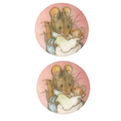 Novelty Button 3/4'' Beatrix Potter Hunca Munca Pink