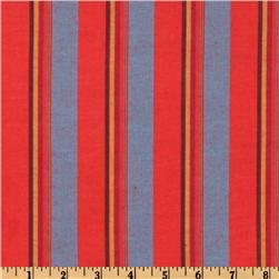 Cotton Blend Yarn Dyed Shirting Stripe Red/Blue/Gold