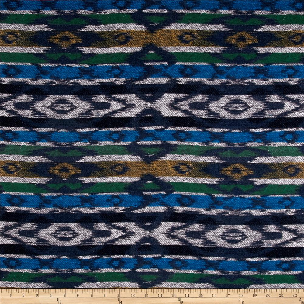 Designer Stretch Jersey Knit Aztec Green/Blue