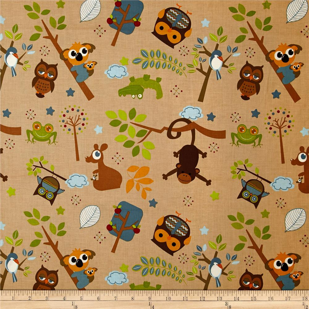 Riley Blake Hooty Hoot Returns Tossed Animals Brown