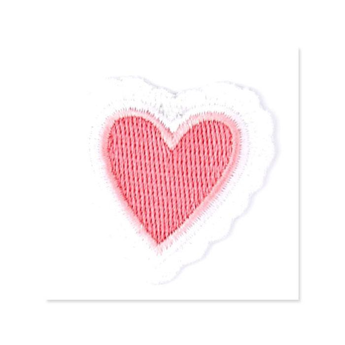 Boutique Applique Heart w/Lace Trim Pink/White