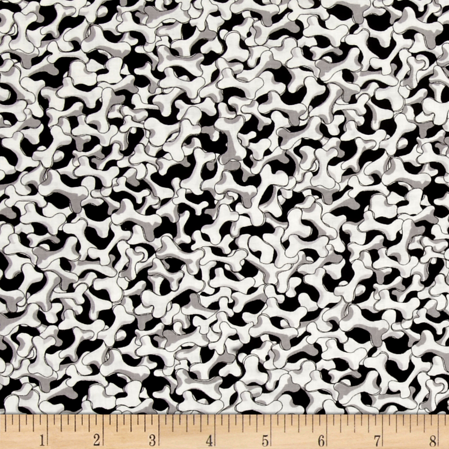 Loralie Designs Dear Doggie Delight Bone Pile Black White Fabric