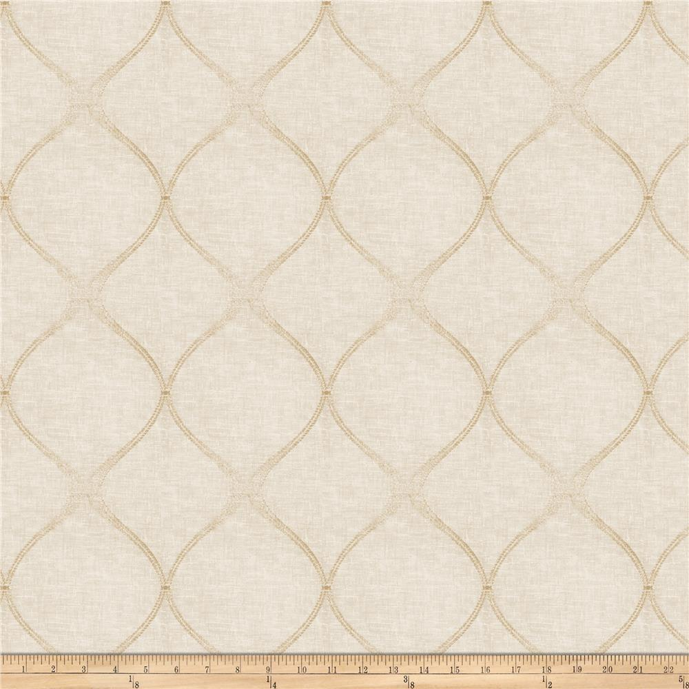 "Fabricut Sibbie Ogee 112"" Sheer Natural"