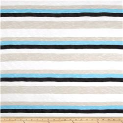 Designer Slub Rayon Jersey Knit Stripes Light Blue/Black