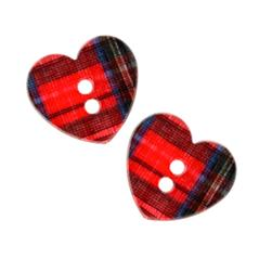 Novelty Button 3/4'' Plaid Heart Red
