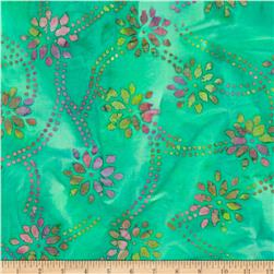 Indian Batik Daisy Trellis Jade/Pink/Lime
