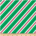 Michael Miller Holiday Party Candy Cane Stripe Evergreen
